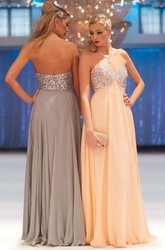 A-Line Long Sleeveless Empire Beaded Sweetheart Chiffon Prom Dress With Pleats