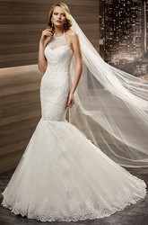 Halter-Strap Mermaid Lace Bridal Gown With Appliques And Open Back
