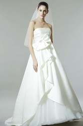 A-Line Bowed Strapless Sleeveless Floor-Length Satin Wedding Dress With Backless Style And Draping