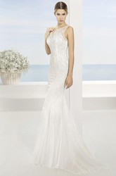 Sheath Appliqued Floor-Length Bateau Sleeveless Lace Wedding Dress With Sweep Train And Illusion Back