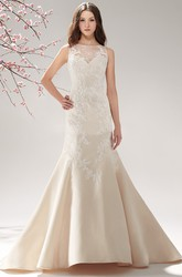 Sleeveless Bateau-Neck Trumpet Gown With Illusion Neck And Appliques