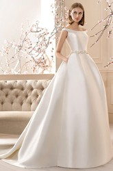A-Line Maxi Off-The-Shoulder Jeweled Satin Wedding Dress