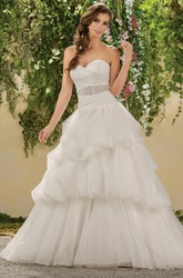Sweetheart A-Line Ruffled Gown With Sequins And Bow