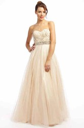 A-Line Sweetheart Beaded Sleeveless Floor-Length Tulle Prom Dress With Waist Jewellery