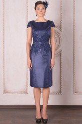 Knee-Length Pencil Cap Sleeve Appliqued Bateau Neck Satin Mother Of The Bride Dress