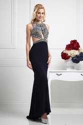 High-Low Sheath Long Jewel-Neck Sleeveless Jersey Backless Dress With Beading