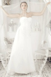 A-Line Floor-Length Sleeveless Sweetheart Criss-Cross Satin Wedding Dress With Backless Style And Sweep Train