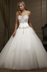 Ball Gown Sweetheart Tulle Wedding Dress With Beading And Lace Up