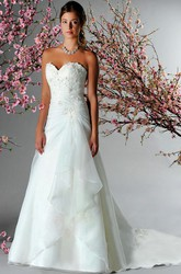 Sweetheart A-Line Organza Bridal Gown With Appliques And Side Drape