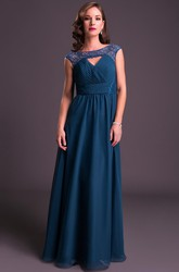 Sheath Scoop-Neck Lace Long Cap-Sleeve Chiffon Prom Dress With Ruching