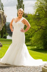Sweetheart Mermaid Sequined Lace Bridal Gown With Lace Up And Straps