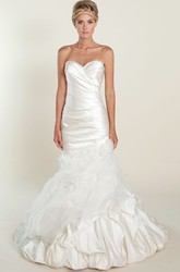 Mermaid Pick-Up Sweetheart Taffeta&Tulle Wedding Dress With Criss Cross And Flower
