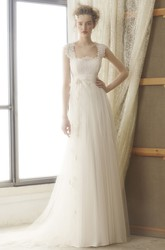 Floor-Length Square Empire Lace Tulle Wedding Dress With Brush Train And Keyhole