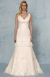 A-Line Appliqued V-Neck Sleeveless Maxi Lace Wedding Dress With Tiers