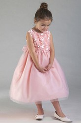 Tea-Length Tiered Tulle&Organza Flower Girl Dress