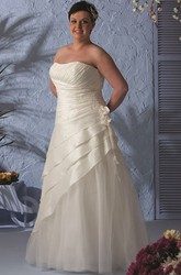 Strapless Lace-Up Layered Taffeta Wrapped Bridal Gown With Removable Jacket