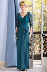 3-4 Sleeved V-Neck Long Mother Of The Bride Dress With Lace Bodice And V-Back