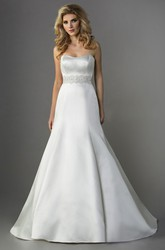 Strapless Satin Trumpet Gown With Beadings And Bow Tie