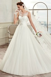 Cap Sleeve A-Line Bridal Gown With Illusive Design And Puffy Skirt