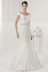 Scalloped Neck Off Shoulder Mermaid Lace Gown With Sash