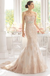 Trumpet Floor-Length Sweetheart Jeweled Lace Wedding Dress With Appliques And Deep-V Back