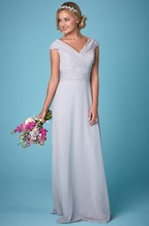 Short Sleeve V-Neck Ruched Chiffon Bridesmaid Dress