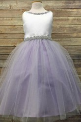 Tea-Length V-Neck Beaded Tulle&Satin Flower Girl Dress