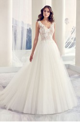 Ball-Gown Long Appliqued Sleeveless V-Neck Tulle Wedding Dress With Illusion Back And Pleats
