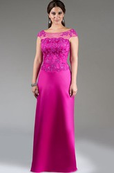 Cap Sleeve Appliqued Top Satin Long Mother Of The Bride Dress With Crystal Details