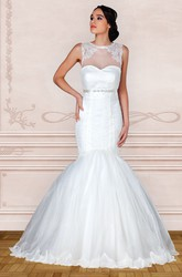 Trumpet Appliqued Jewel-Neck Floor-Length Sleeveless Satin Wedding Dress With Beading