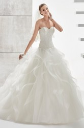 Strapless A-line Wedding Dress with Lace Corset and Cascading Ruffles