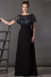Bateau V Back Sequin Top Chiffon Long Mother Of The Bride Dress With Short Batwing Sleeve