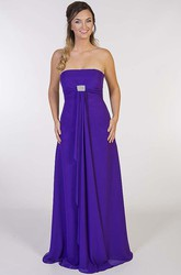 A-Line Strapless Long Broach Sleeveless Chiffon Prom Dress With Draping