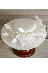 Vintage White Lace Flower Hat With Satin Hat