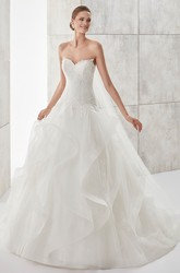 Sweetheart A-line Wedding Gown with Ruffled Skirt and Lace Bodice