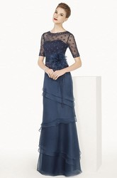 Short Sleeve Layered Chiffon Long Dress With Flower Sash And Beading-net Top