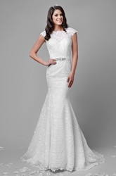 Cap Sleeve Mermaid Lace Wedding Dress With Deep V-Back