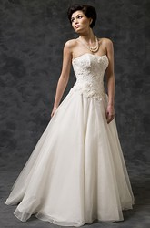 A-Line Strapless Tulle&Satin Wedding Dress With Watteau Train