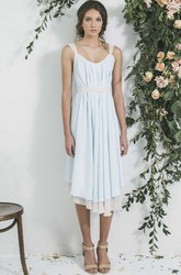 Tea-Length Sleeveless V-Neck Pleated Chiffon Bridesmaid Dress