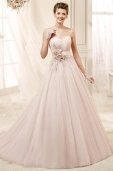 Angel Sweetheart Beaded Draping Dress with Flower Sash and Beaded Appliques