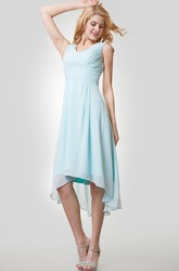 High-Low V-Neck Chiffon Sleeveless Bridemaid Dress With Ruching
