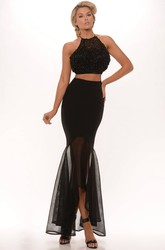 Trumpet High Neck Split-Front High-Low Sleeveless Prom Dress With Sequins