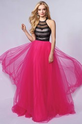 A-Line Floor-Length Jewel-Neck Sleeveless Tulle Dress With Beading