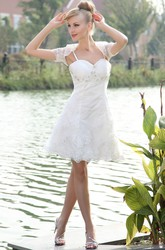 Cute Spaghetti Straps Short Lace Wedding Dress With Lace Jacket