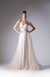 A-Line Long Sweetheart Sleeveless Tulle Satin Sweep Train Backless Dress