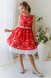 Tea-Length Floral Beaded Lace&Satin Flower Girl Dress With Ribbon