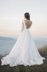 Chiffon Long Sleeve And Court Train Illusion Wedding Dress With Deep V-back