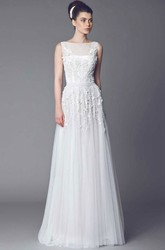 A-Line Long Sleeveless Appliqued Bateau Tulle Wedding Dress With Illusion Back And Pleats