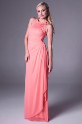 Sleeveless Scoop-Neck Chiffon Bridesmaid Dress With Draping And Illusion