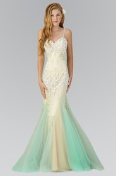 Muti-Color Trumpet Floor-Length Spaghetti Sleeveless Tulle Dress With Beading